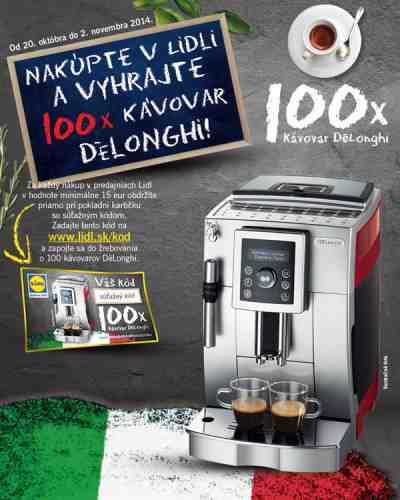 Nakúpte v Lidli a vyhrajte 100x kávovar Delonghi