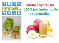 Zdieľaj a vyhraj 10L 100% jablčného muštu od Farmárika