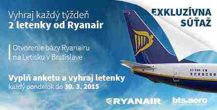 Vyhraj letenky od Ryanair v rámci otvorenia bázy na letisku BTS
