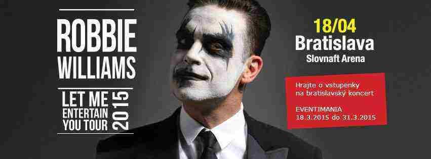 Hrajte o vstupenky na bratislavský koncert Robbie Williams v Bratislave