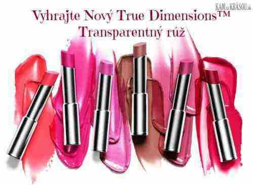 Hrajte o 6 neodolateľných odtieňov Nový True Dimensions™ Transparentného rúžu