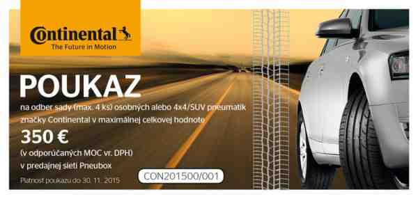 Súťaž o kvalitné pneumatiky Continental v hodnote 350 eur