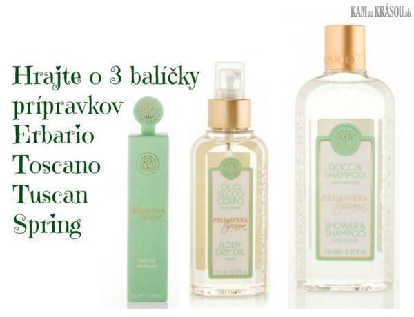 Hrajte o 3 balíčky prípravkov Erbario Toscano Tuscan Spring