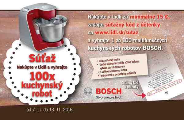 Vyhraj 1 zo 100 multifunkčných kuchynských robotov Bosch