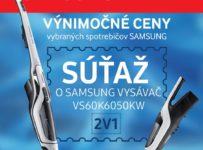 Súťaž o tyčový vysávač Samsung Power™ Stick VS60K6050KW