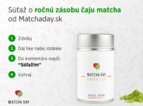 Súťaž o zásobu prvotriedneho zeleného čaju Matcha