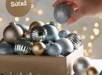 Súťaž o tri balenia vianočných gúľ v zlatej, striebornej a nebesky modrej farbe od Möbelix