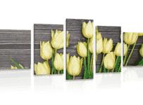 Súťaž o 5-dielny obraz s motívom žltých tulipánov na drevenom podklade