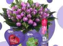 Súťaž o kyticu 50 fialových tulipánov a tri bonboniéry Milka